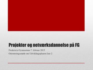 Projekter og netværksdannelse på FG