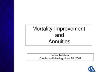 Mortality Improvement  and  Annuities