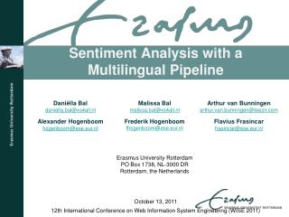 Sentiment Analysis with a Multilingual Pipeline