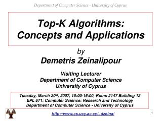 Top-K  Algorithms:  Concepts and Applications