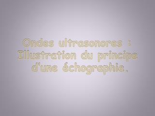 Ondes ultrasonores :  Illustration du principe      d'une échographie.