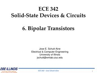 ECE  342 Solid-State Devices & Circuits 6. Bipolar Transistors