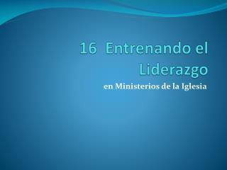 16   Entrenando el  Liderazgo