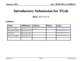 Introductory Submission for  TGah