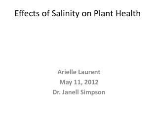 Effects  of Salinity on Plant Health