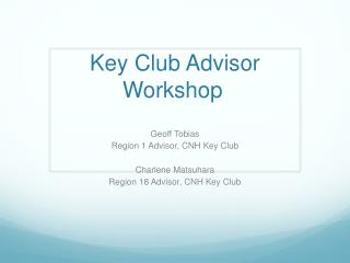 Key Club Advisor Workshop