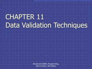 CHAPTER 11 Data Validation Techniques