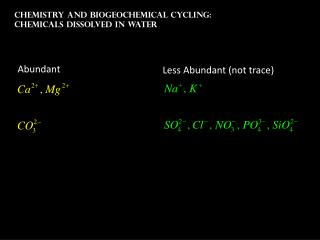 Chemistry and Biogeochemical Cycling: Chemicals dissolved in water