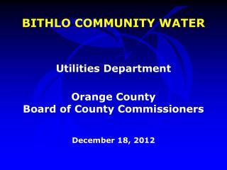 BITHLO COMMUNITY WATER