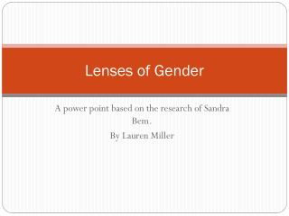 Lenses of Gender