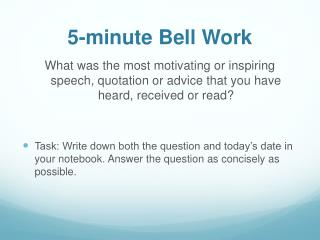 5-minute Bell Work