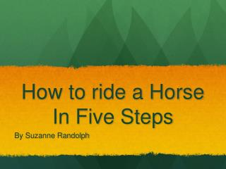 How to ride a Horse In Five Steps