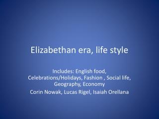 Elizabethan era, life style