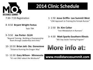 2014 Clinic Schedule