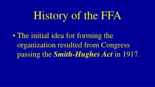 History of the FFA