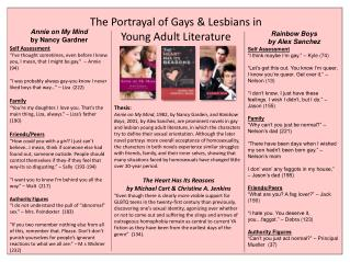 The Portrayal of Gays & Lesbians in  Young Adult Literature
