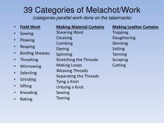 39 Categories of  Melachot /Work (categories parallel work done on the tabernacle)