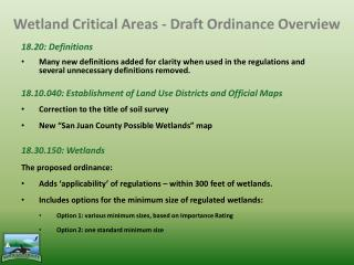 Wetland Critical Areas - Draft Ordinance Overview