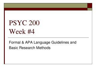 PSYC 200 Week #4