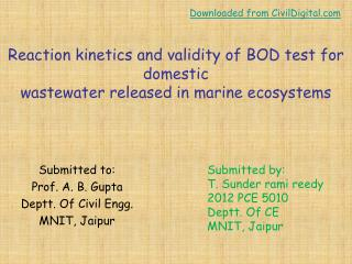 Reaction kinetics and validity of  BOD test  for domestic wastewater released in marine ecosystems