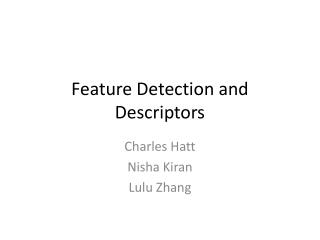Feature Detection and Descriptors