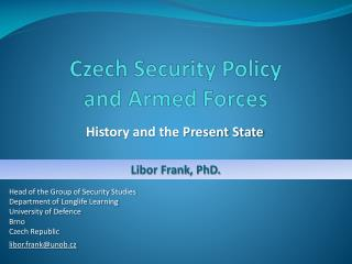 Czech Security Policy  and Armed Forces