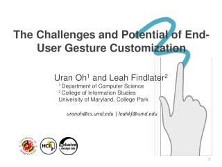 The Challenges and Potential of End-User Gesture  Customization