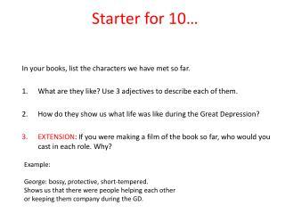 Starter for 10…