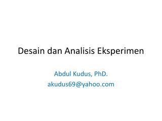 Desain dan Analisis Eksperimen