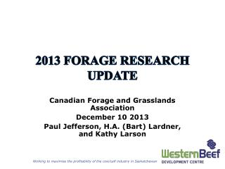 2013 Forage research update