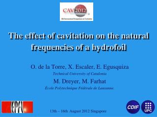 The effect of cavitation on the natural frequencies of a hydrofoil