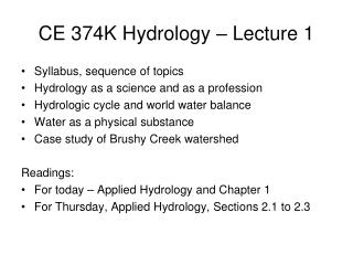 CE 374K Hydrology – Lecture 1