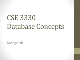 CSE 3330  Database Concepts
