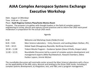 AIAA Complex Aerospace Systems Exchange Executive Workshop