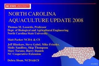 NORTH CAROLINA AQUACULTURE UPDATE 2008