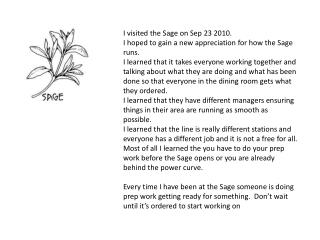 I visited the Sage on Sep 23 2010. I hoped to gain a new appreciation for how the Sage runs.