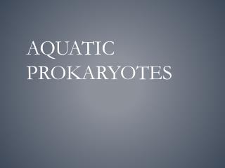 Aquatic Prokaryotes