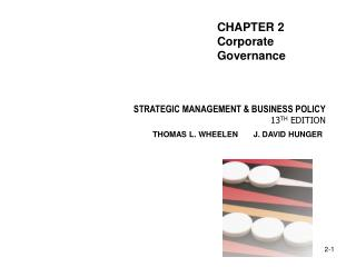 STRATEGIC MANAGEMENT & BUSINESS POLICY 13 TH EDITION