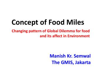 Concept of Food Miles