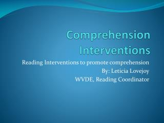 Comprehension Interventions
