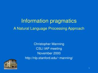 Information pragmatics A Natural Language Processing Approach