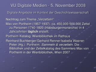 VU Digitale Medien - 5. November 2008
