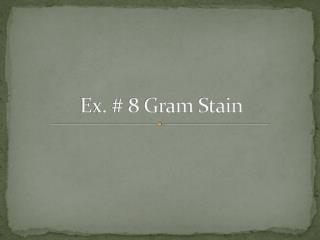 Ex. # 8 Gram Stain