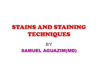 STAINS AND STAINING TECHNIQUES