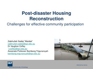 Post-disaster Housing Reconstruction