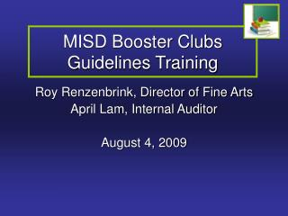 MISD Booster Clubs Guidelines Training