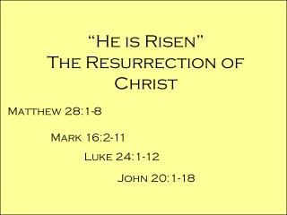"""He is Risen"" The Resurrection of Christ"