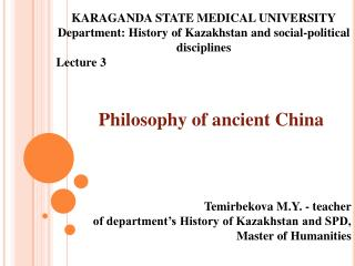 Philosophy  of ancient  China