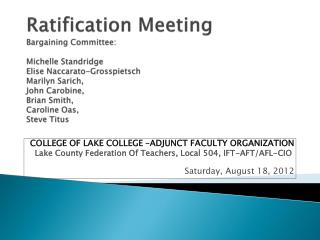 COLLEGE OF LAKE COLLEGE �ADJUNCT FACULTY ORGANIZATION