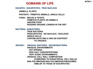 EUKARYA - EUKARYOTES - TRUE NUCLEUS ANIMALS,  	PLANTS 	PROTISTS - PRIMITIVE ANIMALS, SINGLE CELLS